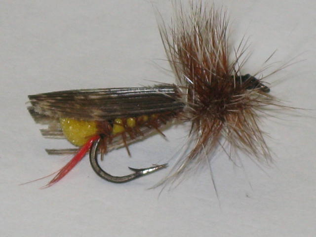 Joes hopper Trout fly. This is a good floating fairly realistic grasshopper pattern.