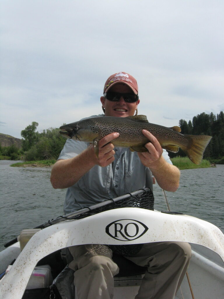 Streamer brown trout on the snake river