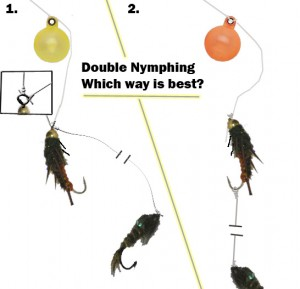Rigging with 2 nymphs and a fly fishing indicator.