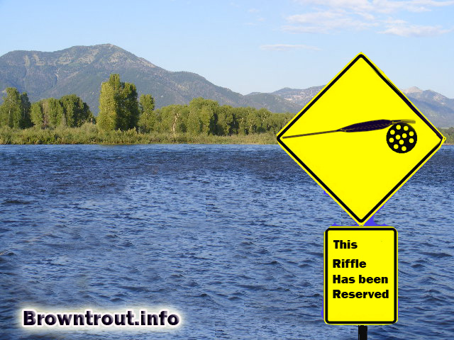 Fly Fishing Elitist sign in the river has been reserved.