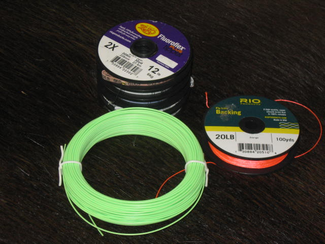 The line leader and tippet used in a basic fly fishing setup.