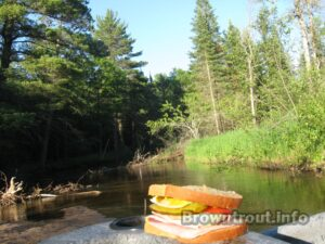 A great trout stream meal. A sandwich decked out with all the fixings.