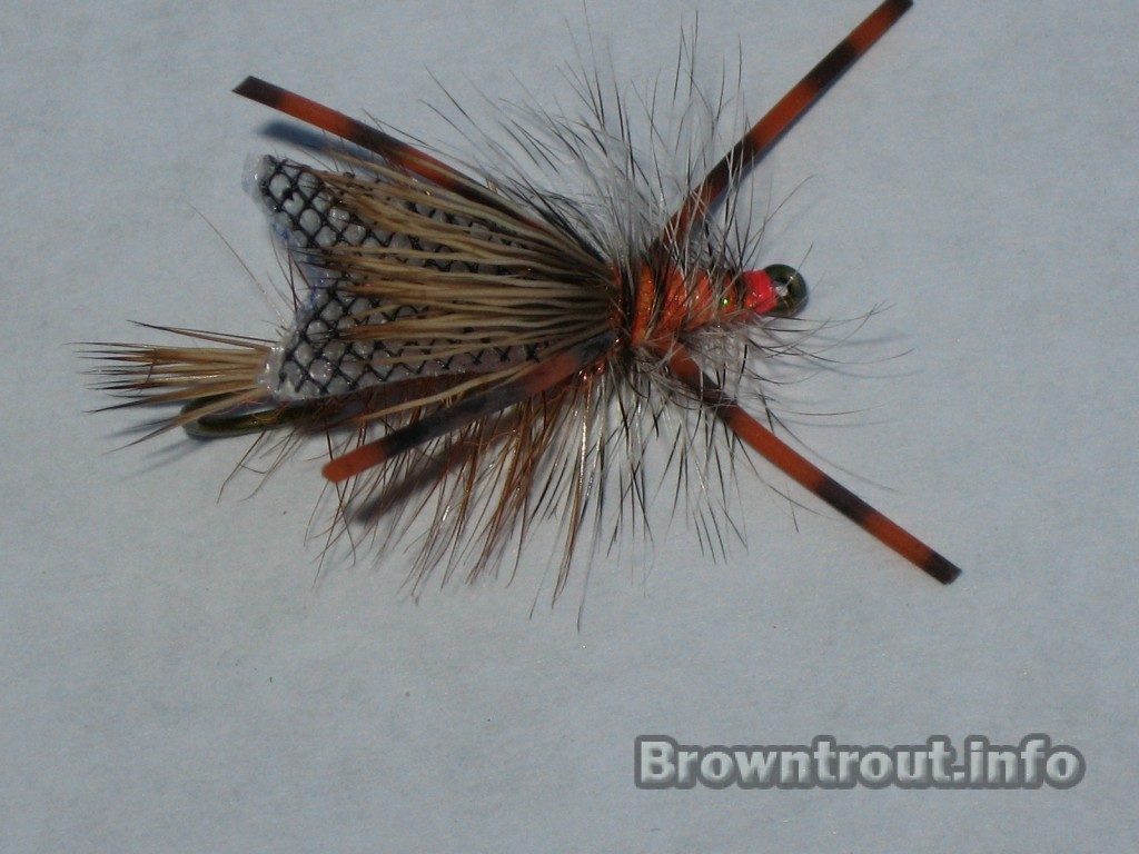 The stimulator chewtoy trout fly, a great stonefly representation.