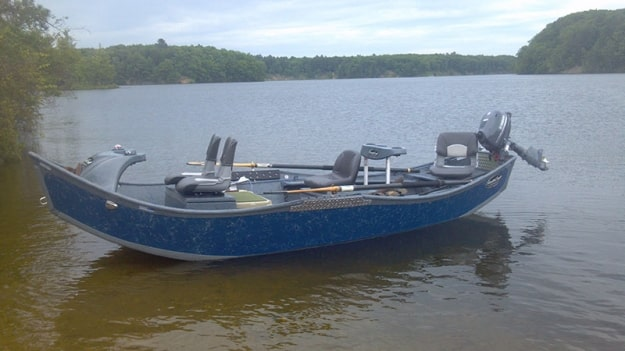 A 16 foot drift boat made by stealthcraft boats of baldwin MI