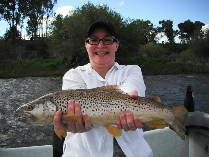 tami christisten with a montana madison river brown
