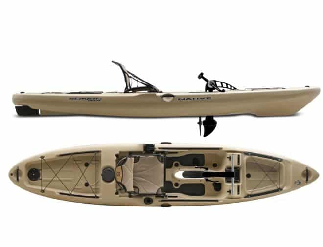 a paddle driven kayak made by Native. This model is great for the flyfisherman.