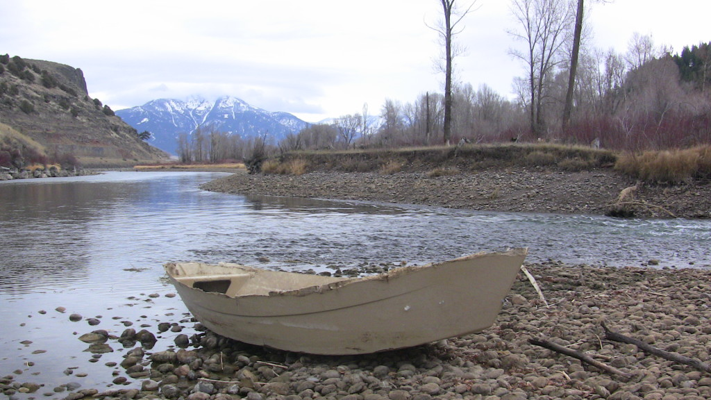 Capsized clackacraft on the south fork of the snake
