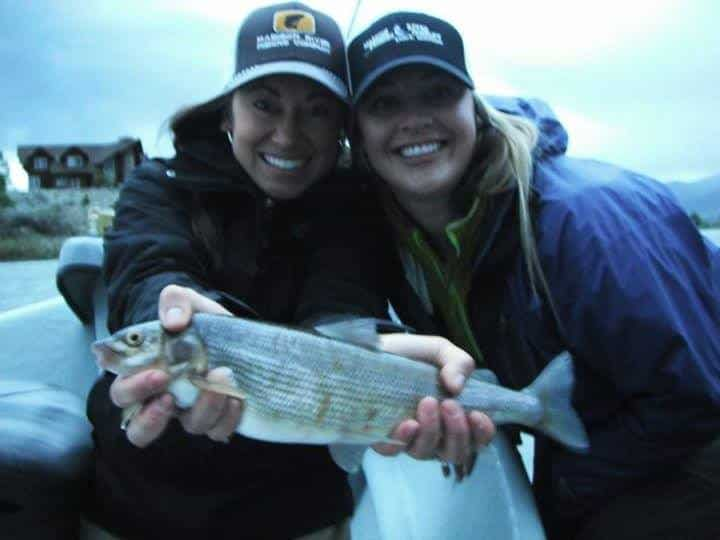 Jess and Anna Slaying Whitefish on the Madison in MT