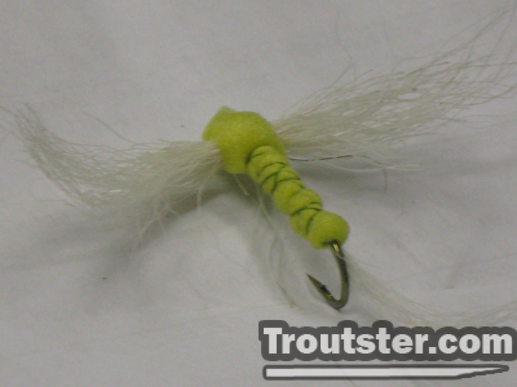 Foam hex spinner fly with calf tail wings and tail.