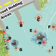 The areas most likely to catch trout in any given river.