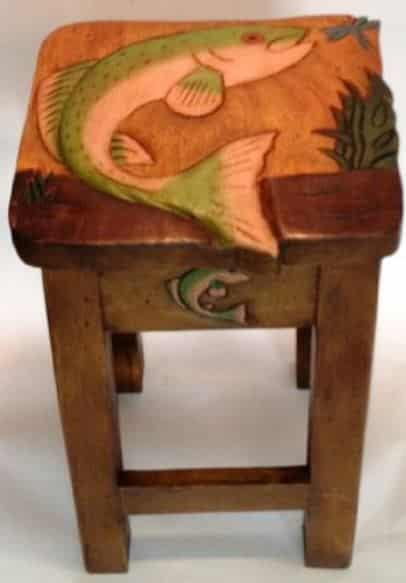 Hand carved trout stool for home and cabin decor