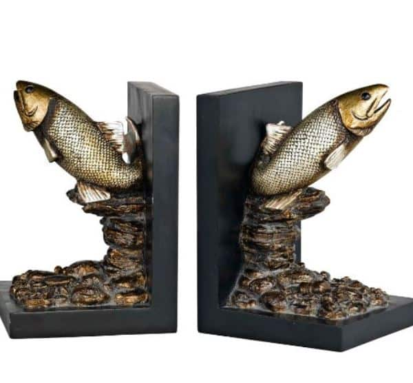 Bronze trout bookends