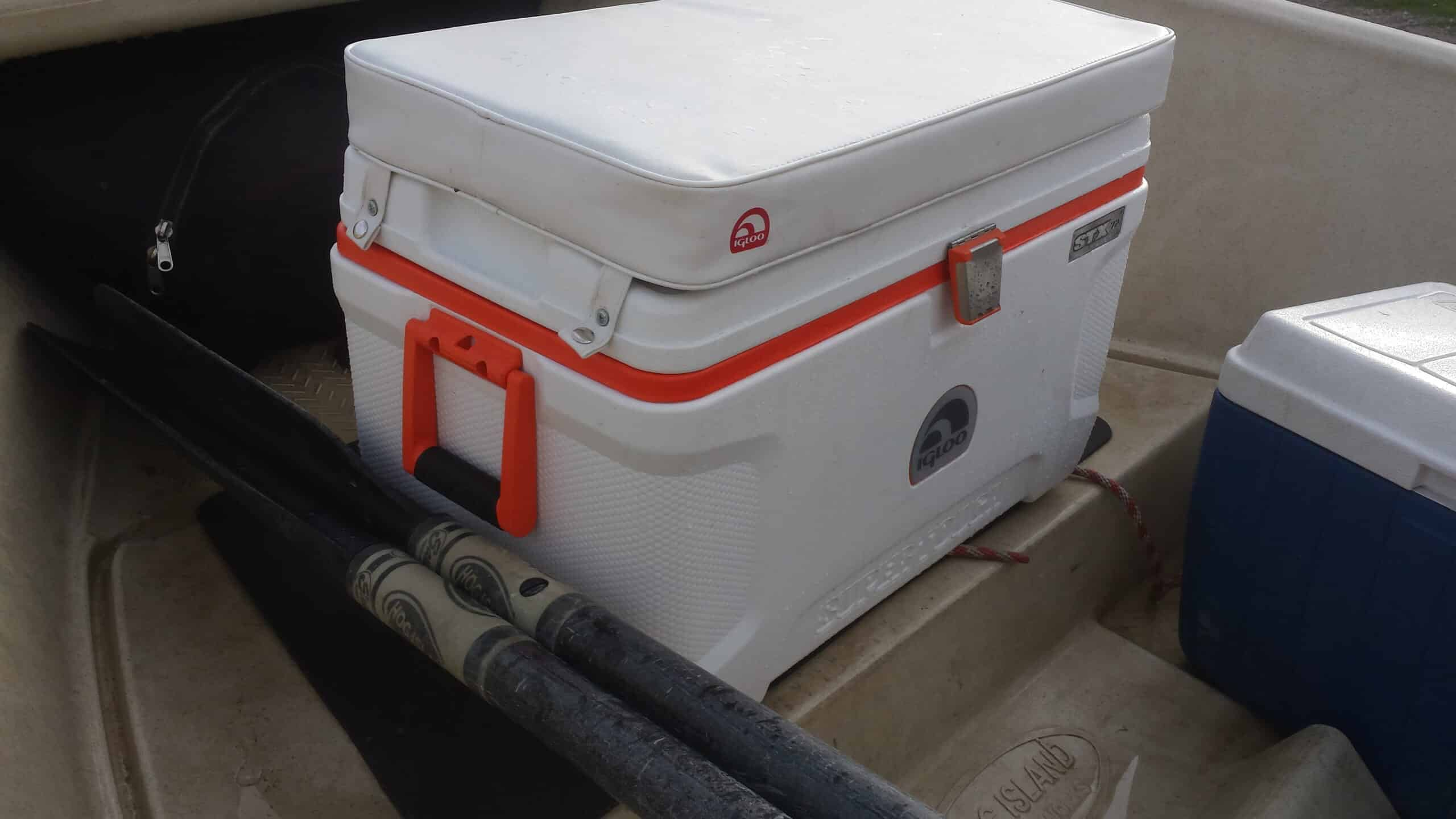 Igloo STX fishing style cooler mounted in a drift boat