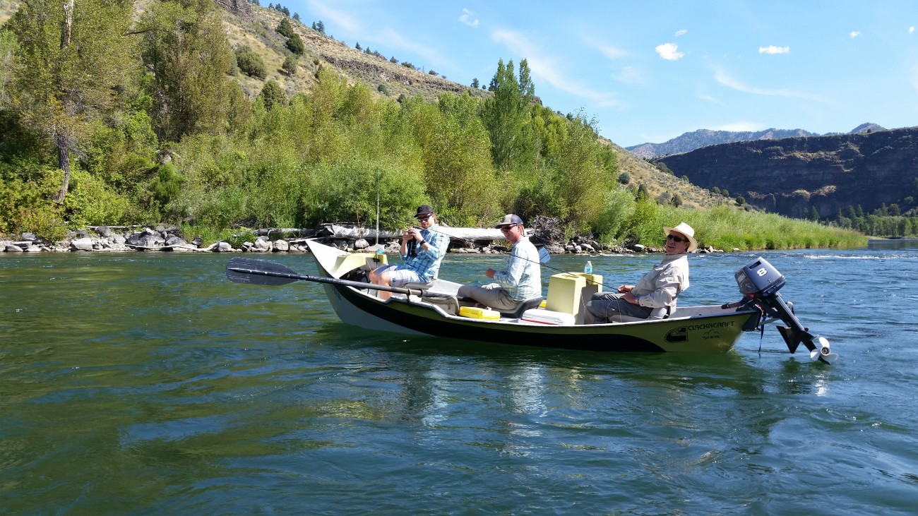 A Mckenzie style drift boat on the South fork of the Snake river in Idaho