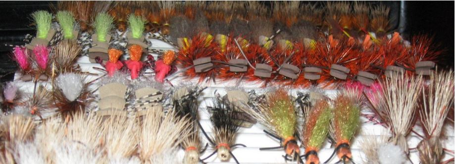 A fly box filled with various dry flies for trout