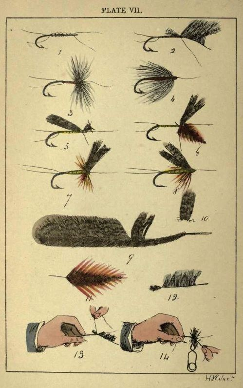 Color plate from 1860 showing how to tie flies