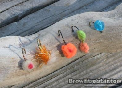 Egg pattern flies to catch spawning brown trout