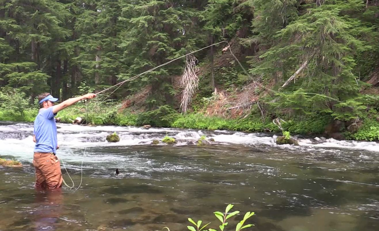 Fishing the upper Rogue river in Oregon