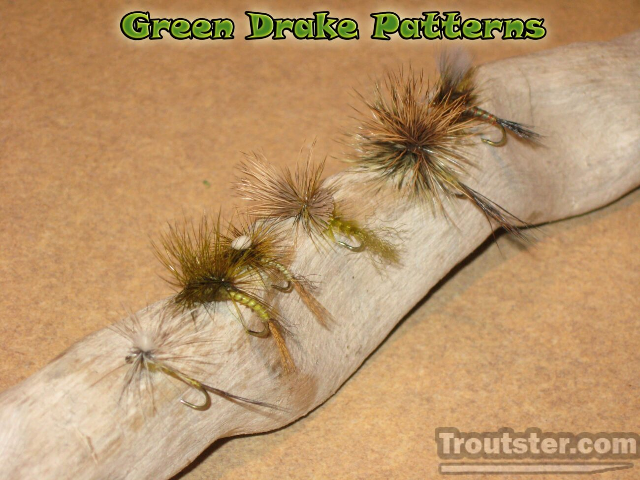 Emerger, spinner, parachute and dun green drake flies