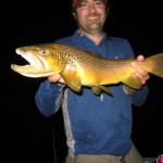 Big brown trout caught during the Michigan hex hatch