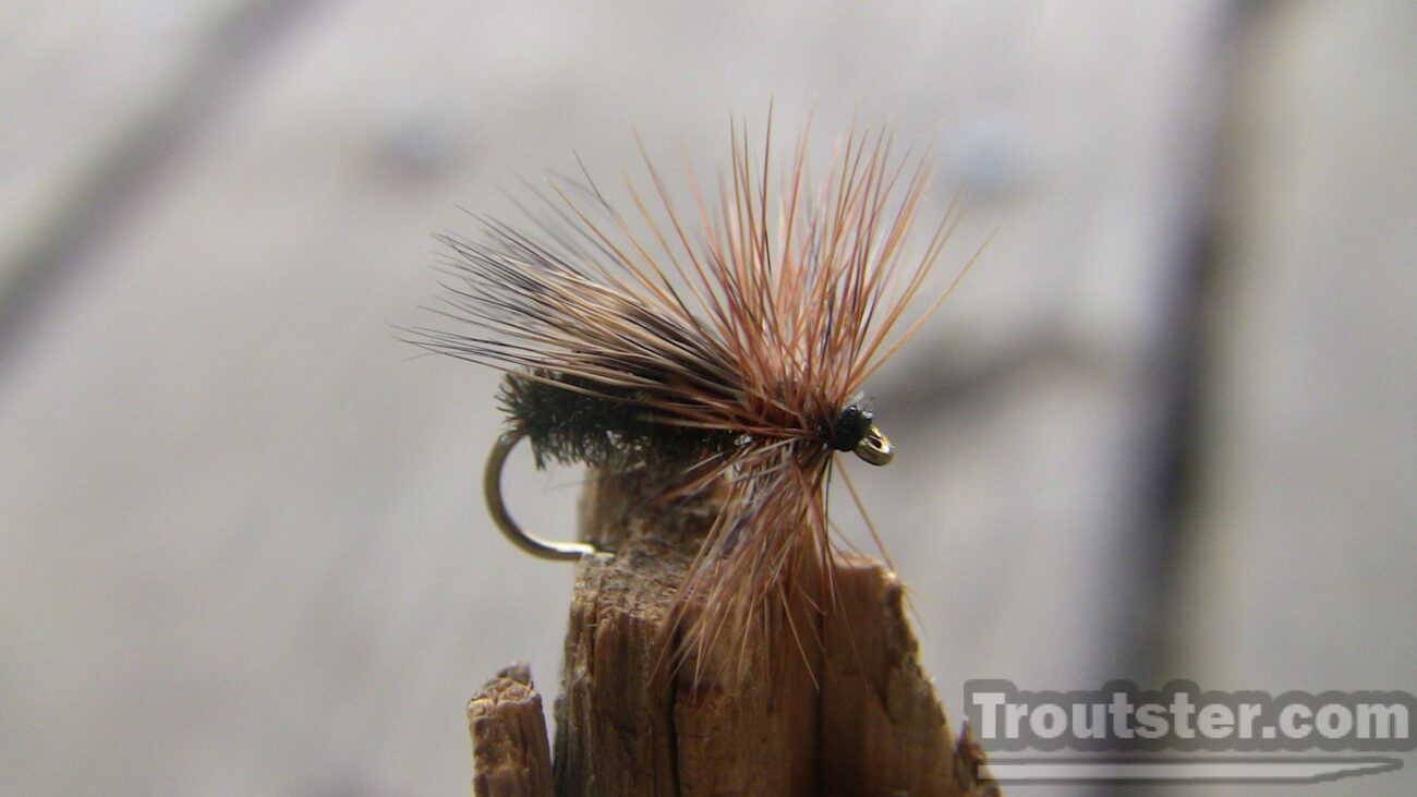The Peacock caddis fly pattern tied with peackock herl, and deer hair.