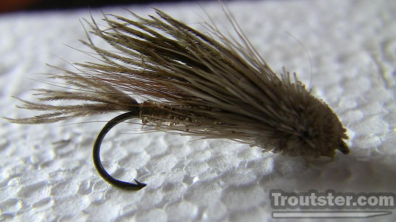 A muddler minnow fly pattern tied with mostly deer hair to give it the bulk to simulate a sculpin fish.