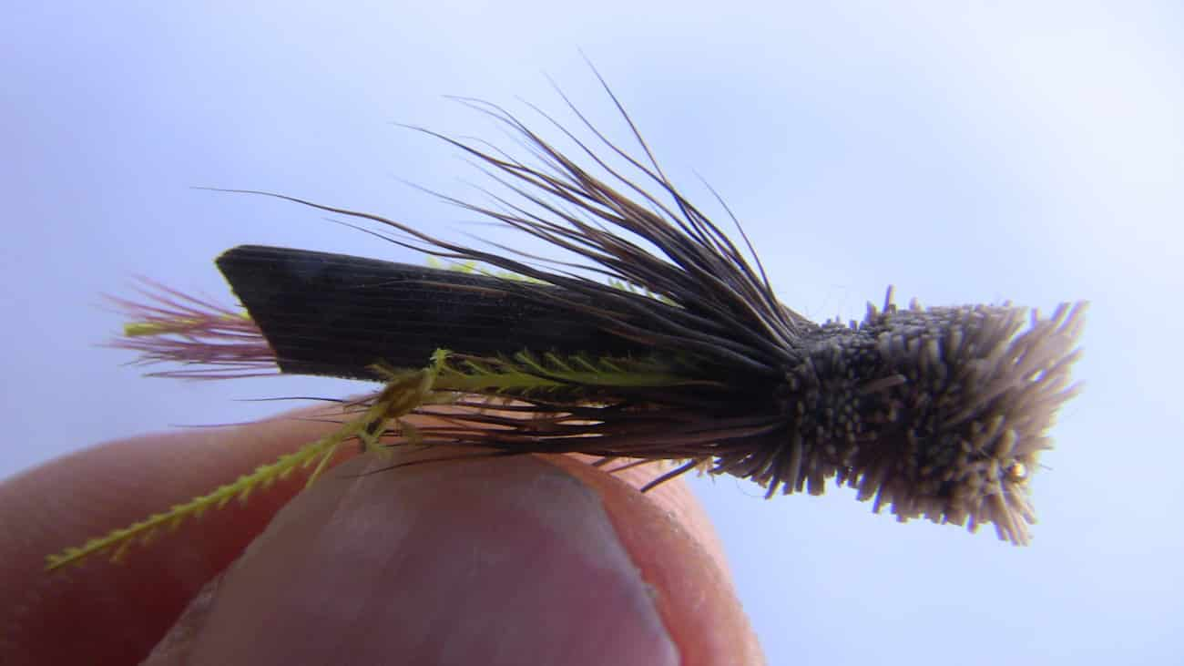 A weighted Daves hopper fly pattern