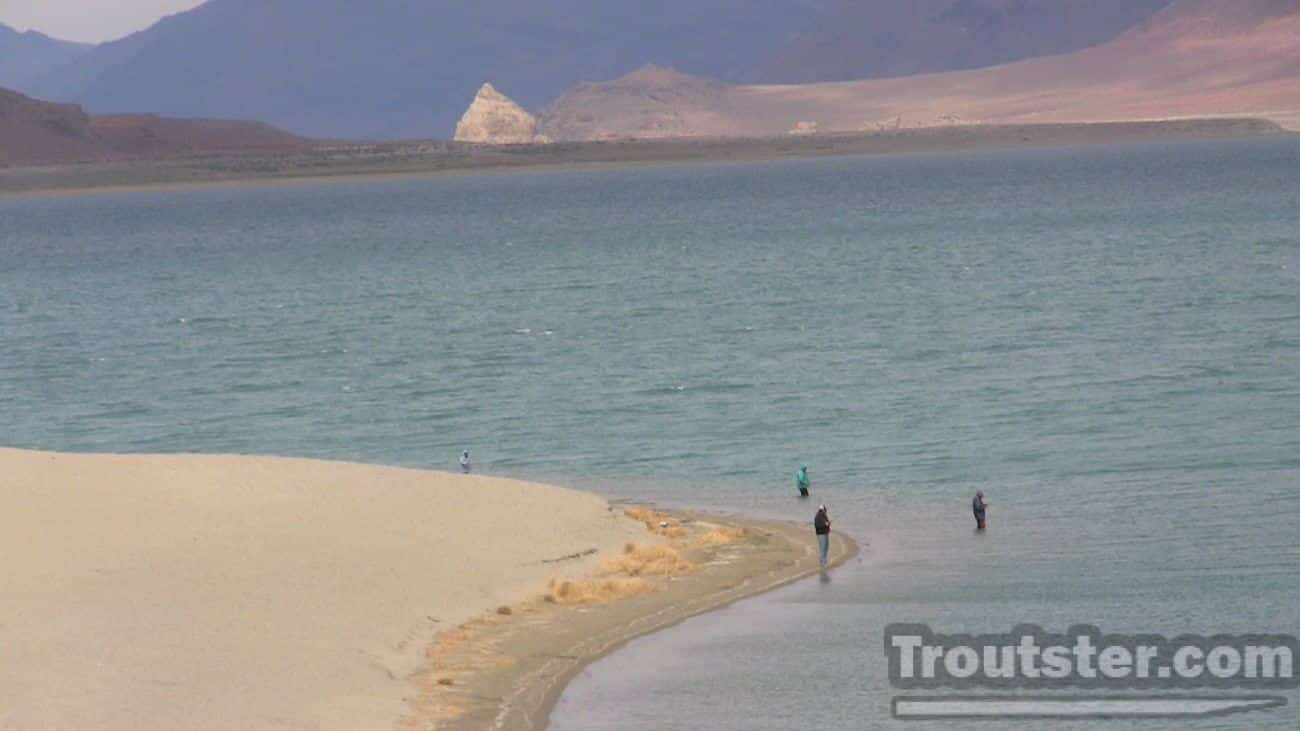 A group of fisherman on Nevada's Pyramid lake