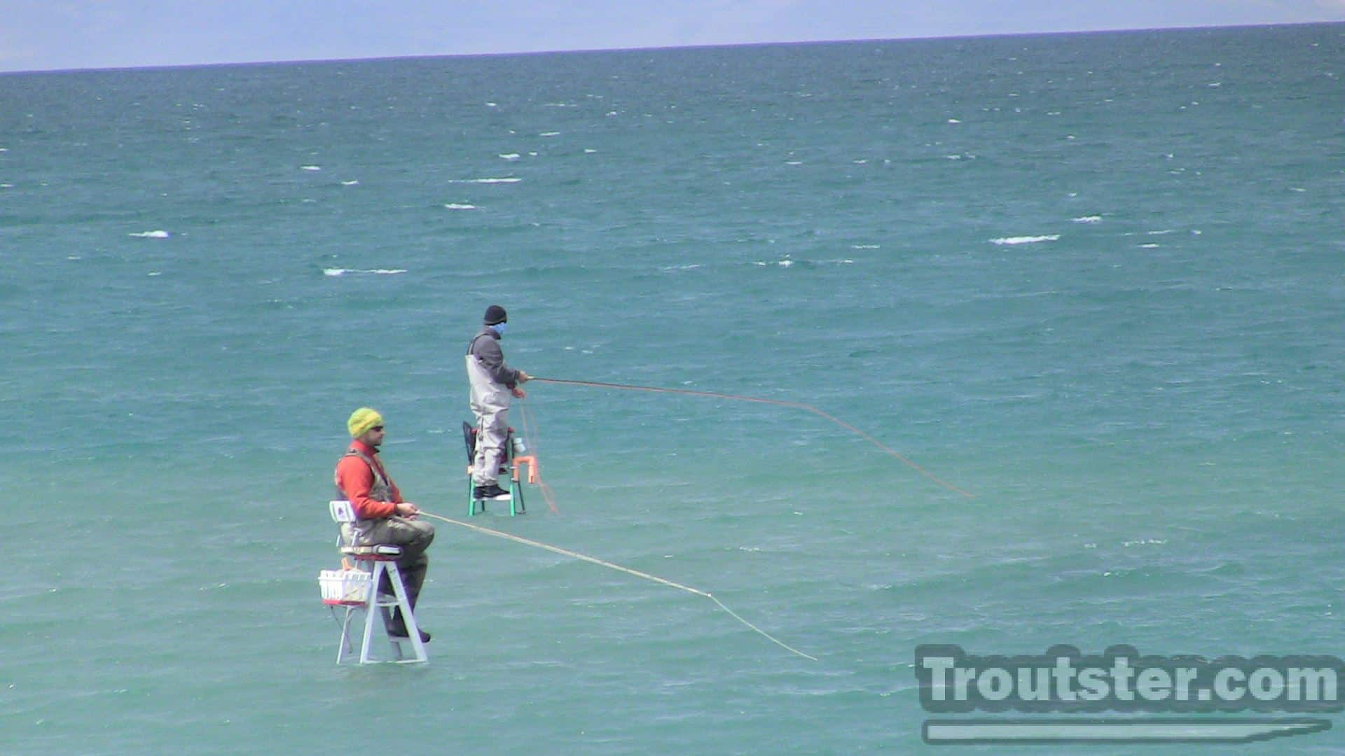 Fly fishing in Pyramid lake using ladders