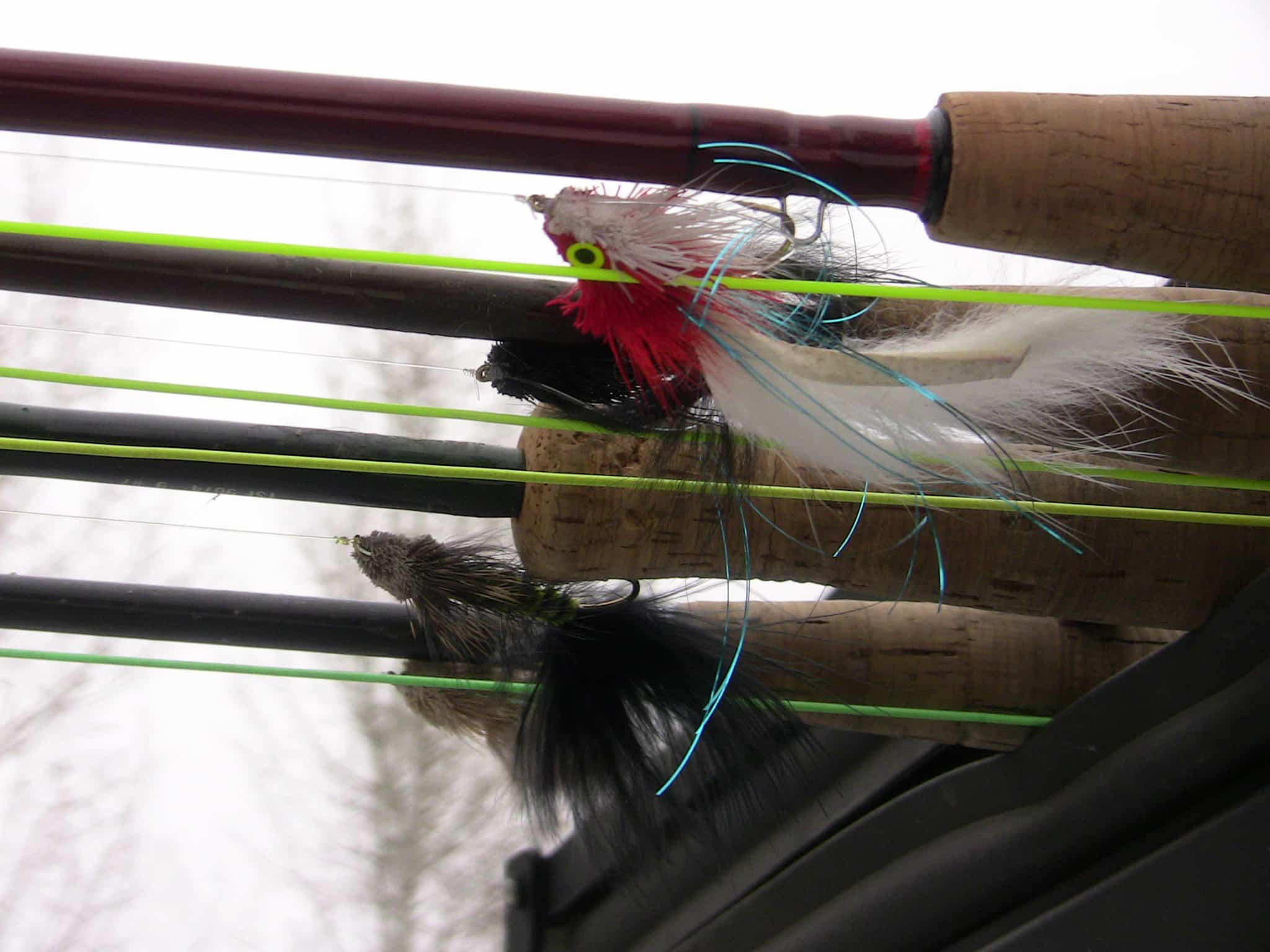 Fishing streamers rigged up for spring trout.