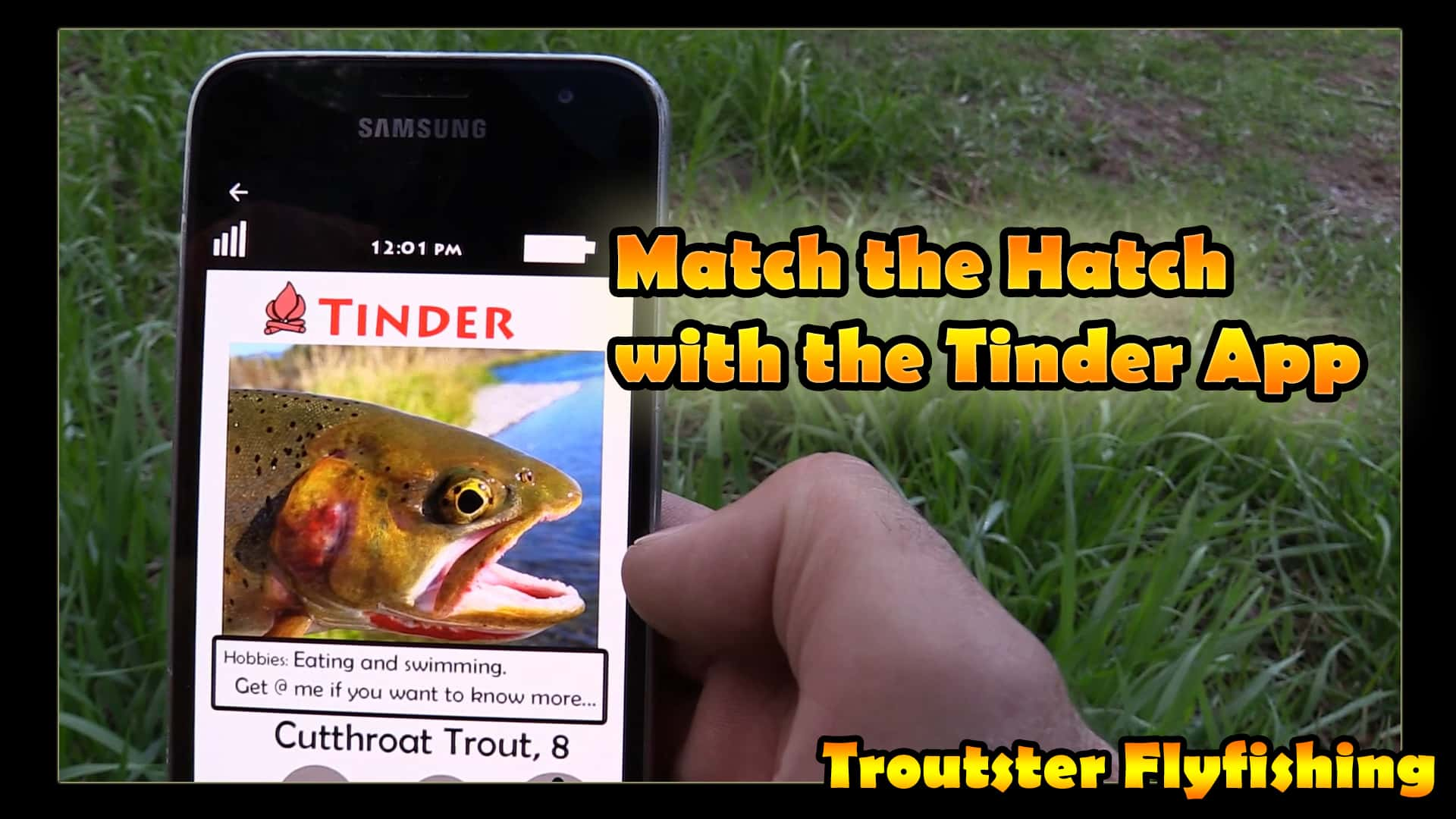 Matching the hatch with tinder flyfishing parody