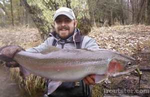 A steelhead caught in Michigan on the Pere Marquette river