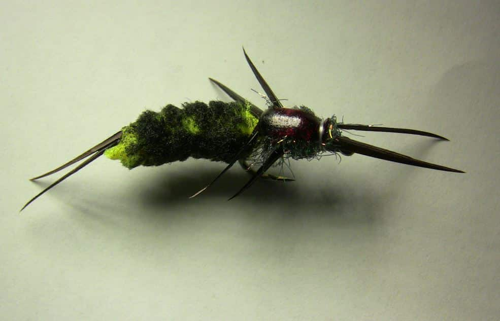 Stone fly pattern tied using a mop material