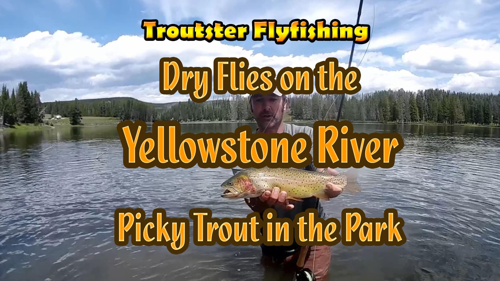 Catching trout on the Yellowstone river in the National park