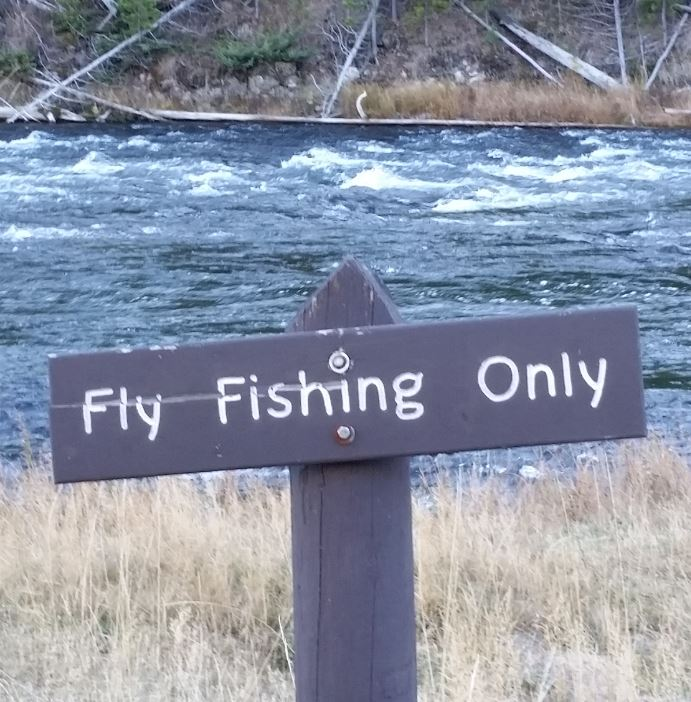 Fly fishing only sign on the Madison river in Yellowstone.