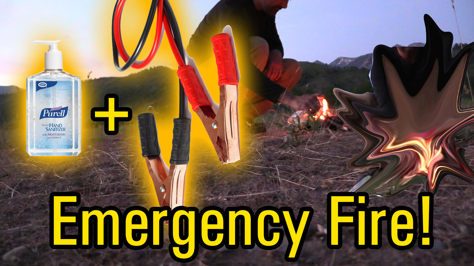 survival fire with jumper cables